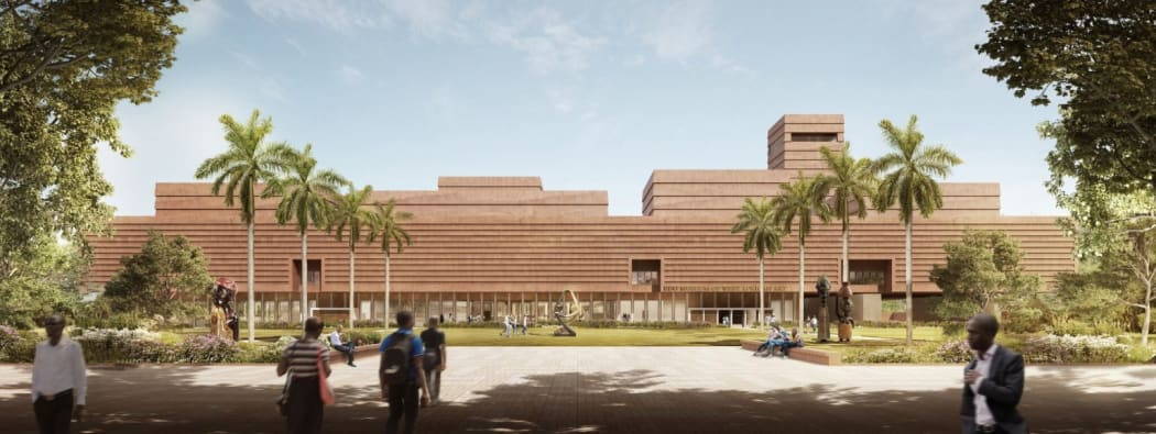 A computer-generated impression of the main entrance and courtyard of the planned Edo Museum of West African Art in Nigeria. Image courtesy of Adjaye Associates.