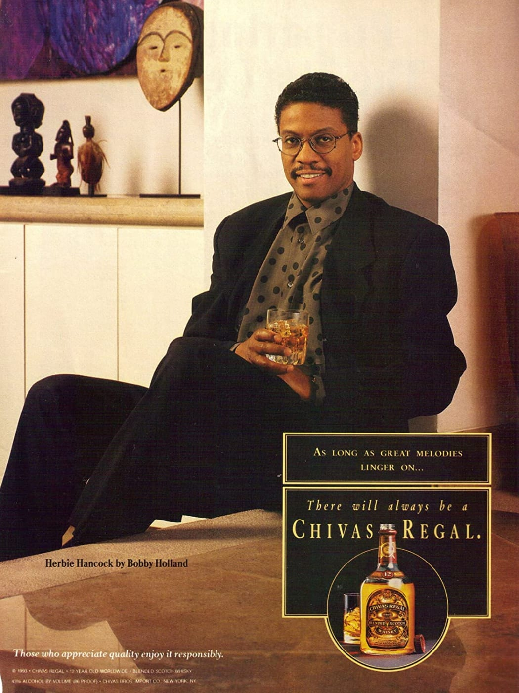 African art in a Chivas Regal advertisement from 1995