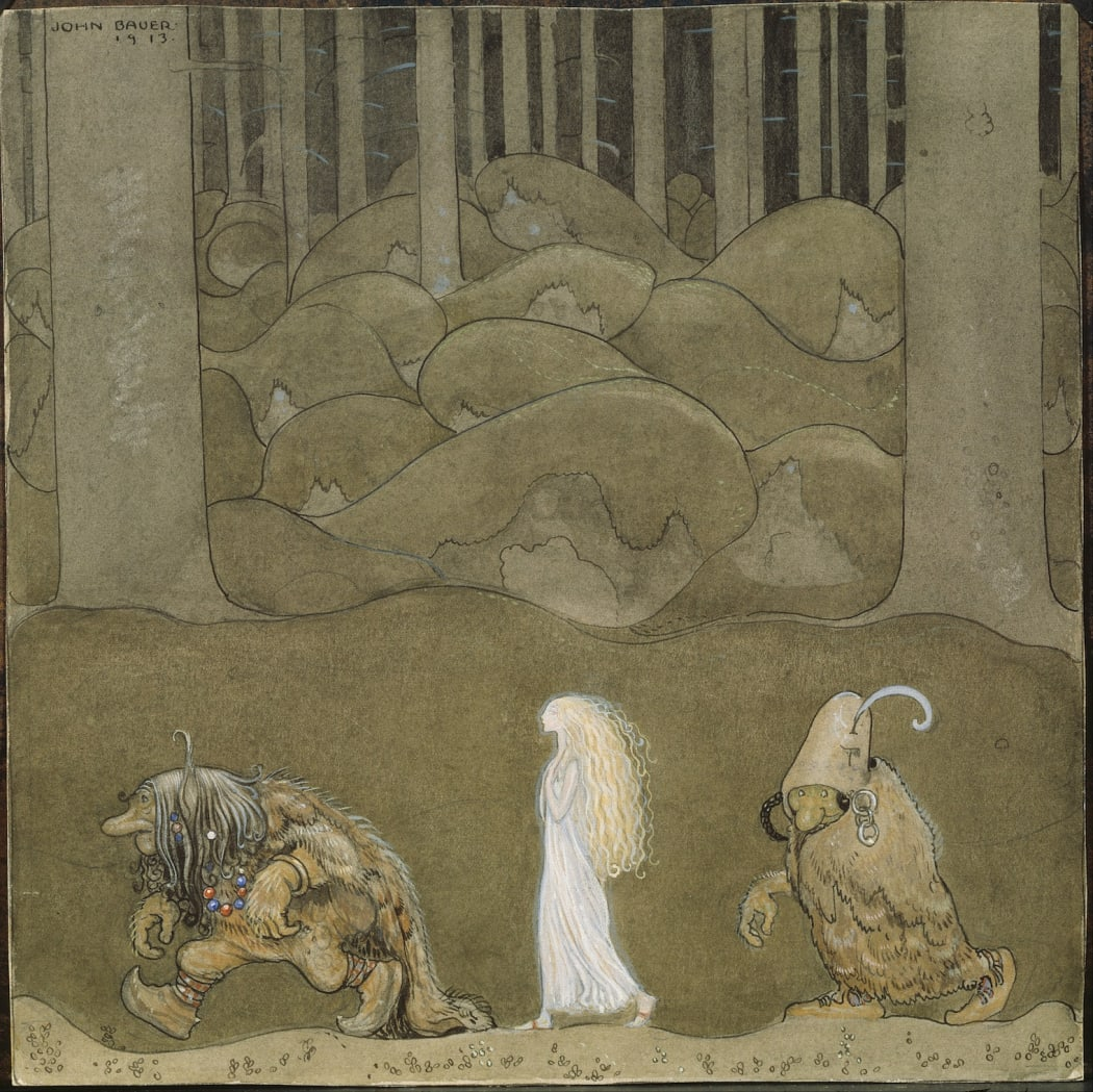 One evening around Midsummer they went with Bianca Maria deep into the forest, 1913, watercolour