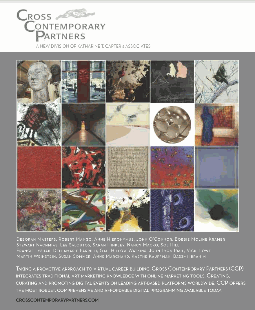 Cross Contemporary Partners Ad inside the front cover of Art in America's 2020-21 Museum and Gallery Guide