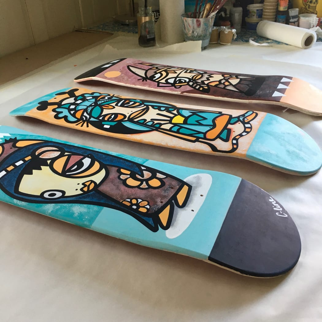 Skateboard decks serie for a group exhibition at Doodahstore