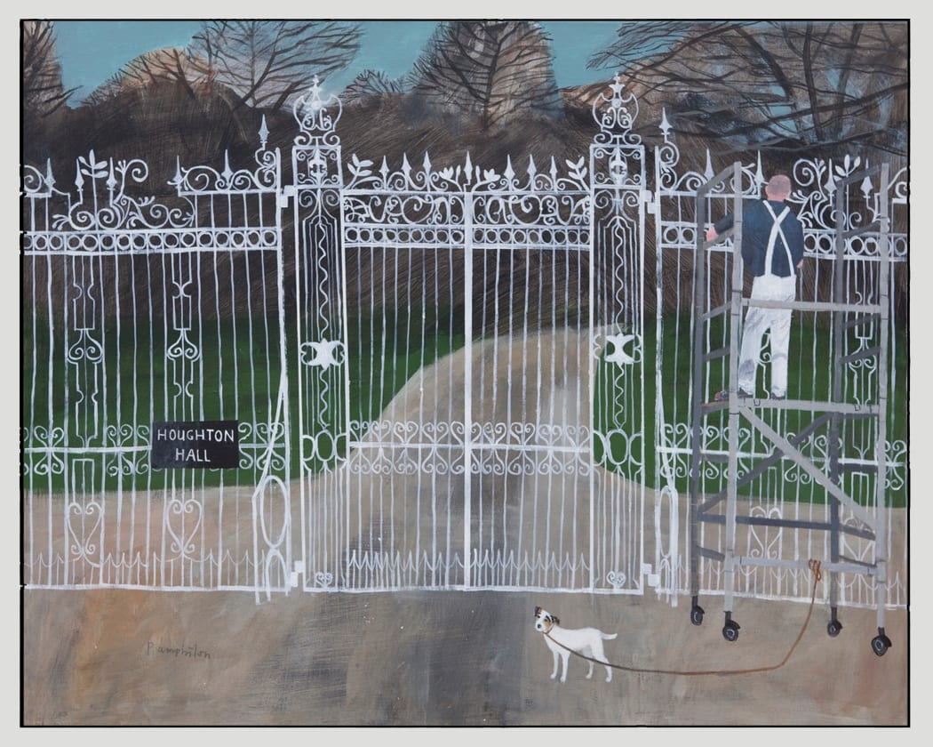Painting the gates at Houghton Hall by Elaine Pamphilon ©2021