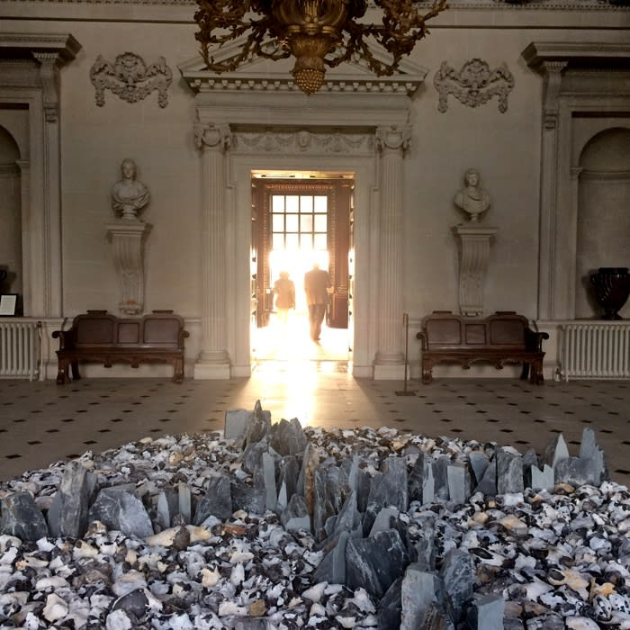 Richard Long's sculpture in the Stone Hall at Houghton Hal;l