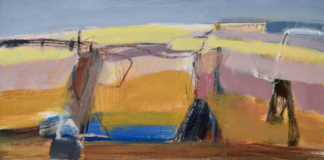 Late Summer Hill, oil on board, 38 x 76 cms