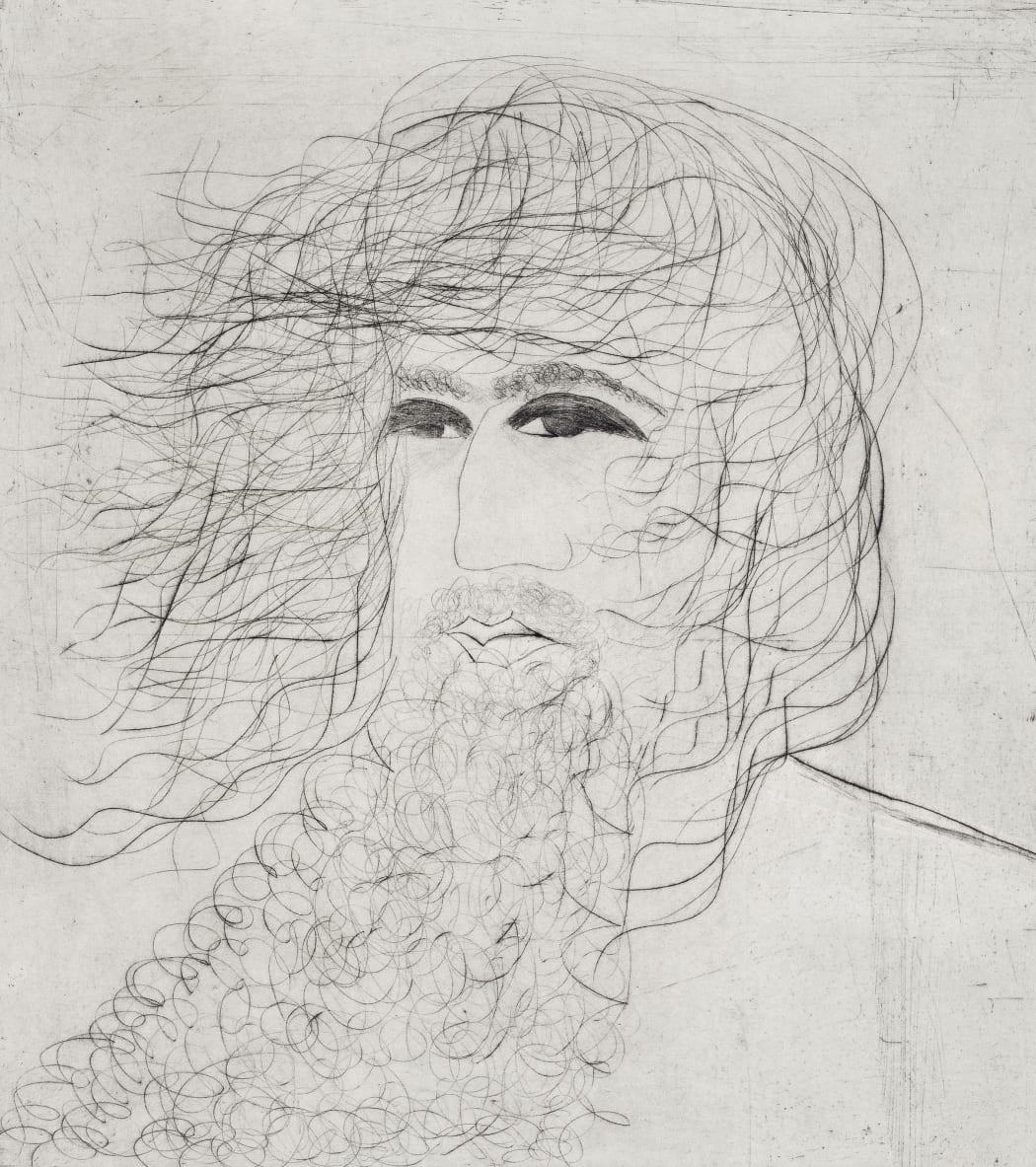 Kate Boxer, Heraclitus, drypoint, 57 x 51 cms