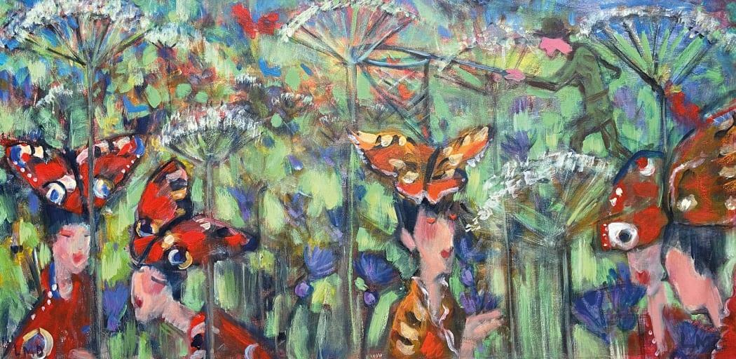 Butterfly Catcher, acrylic on canvas, 61 x 122 cms