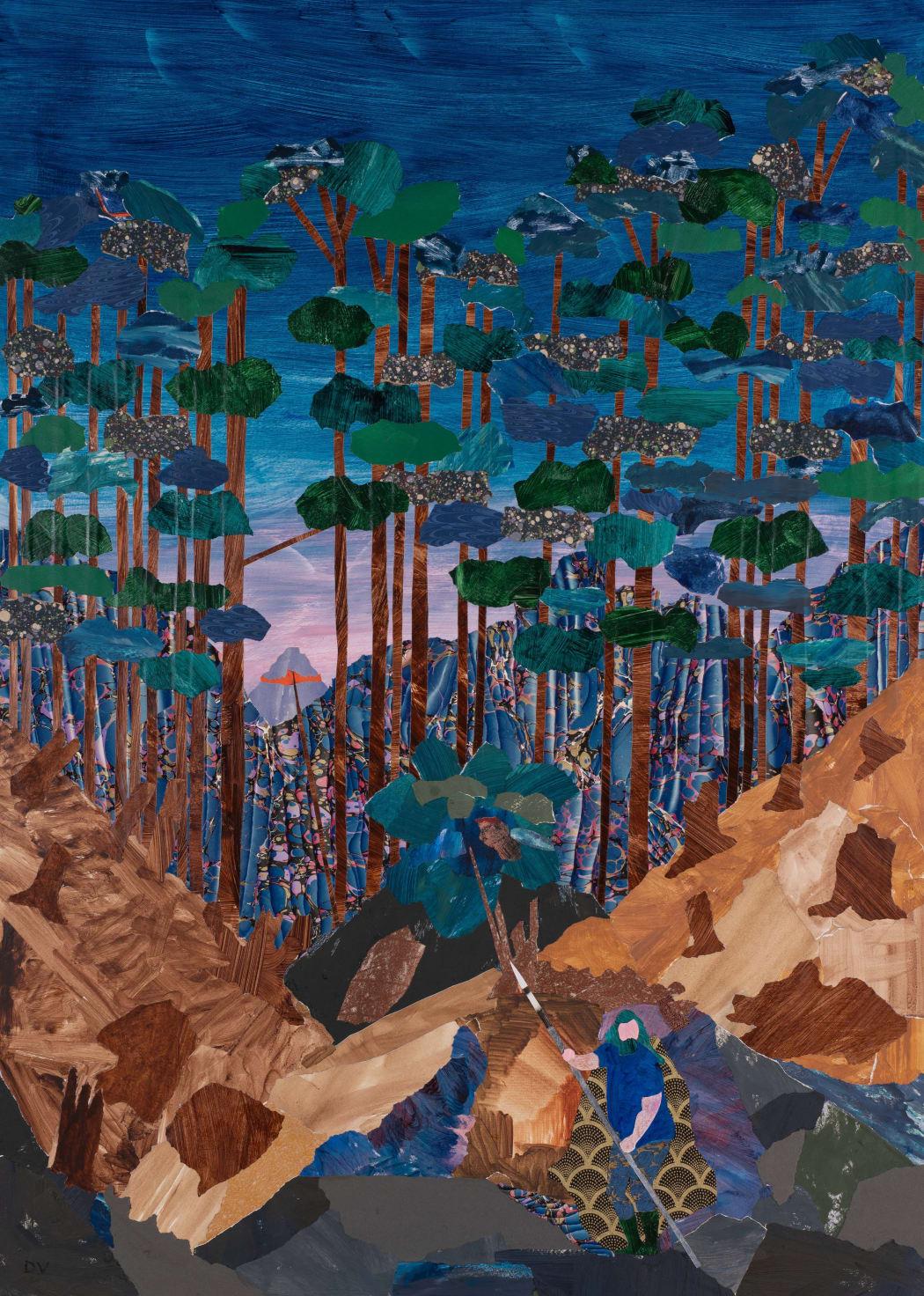 Dione Verulam, Wotan and Brunnhilde's Rock, collage, 120 x 87 cms