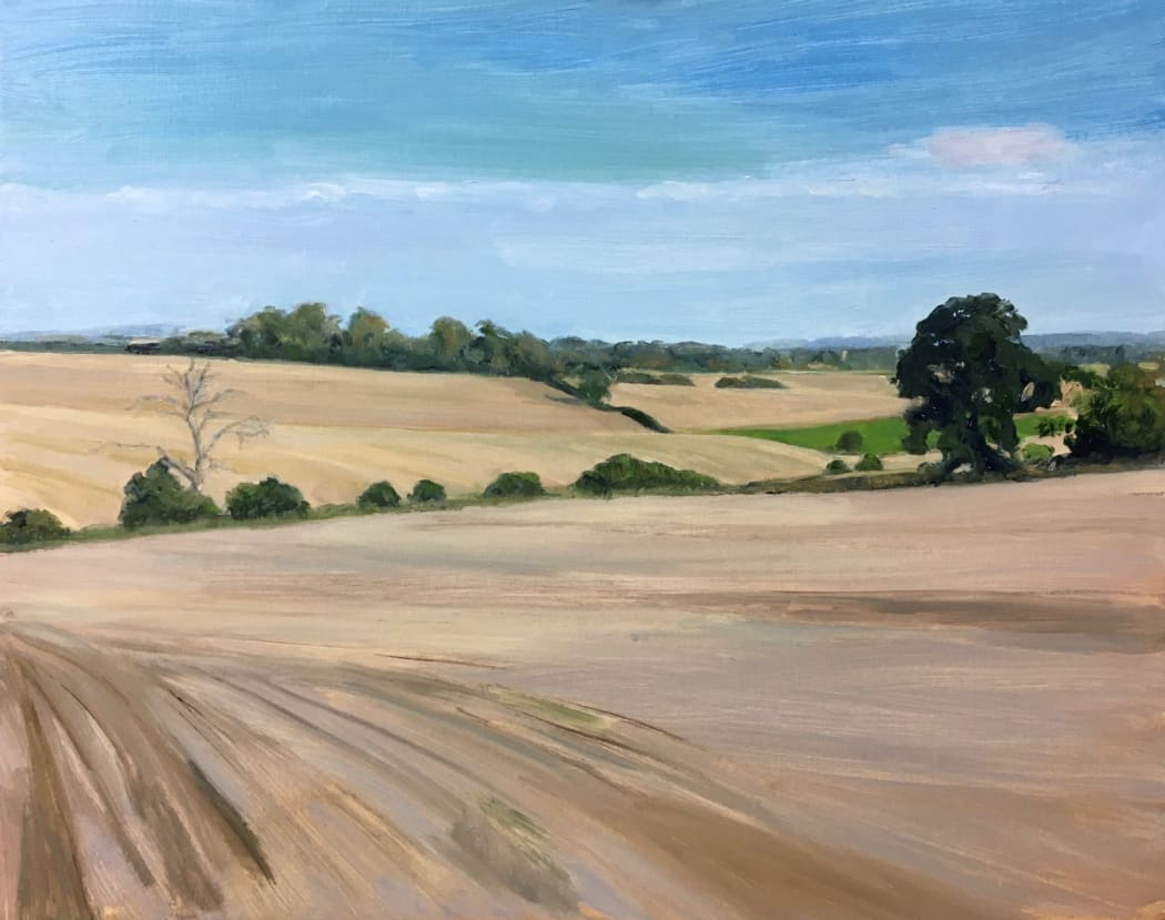 Celia Montague, After the Harvest II, oil on canvas, 40 x 50 cms