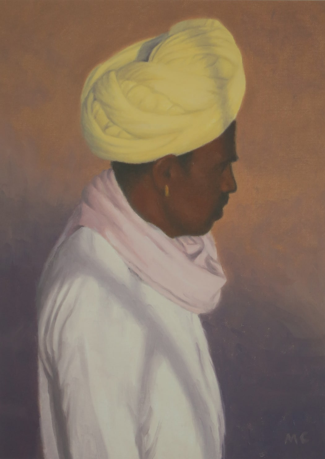 Rajasthani Man with Yellow Turban, oil on paper, 32 x 24 cms