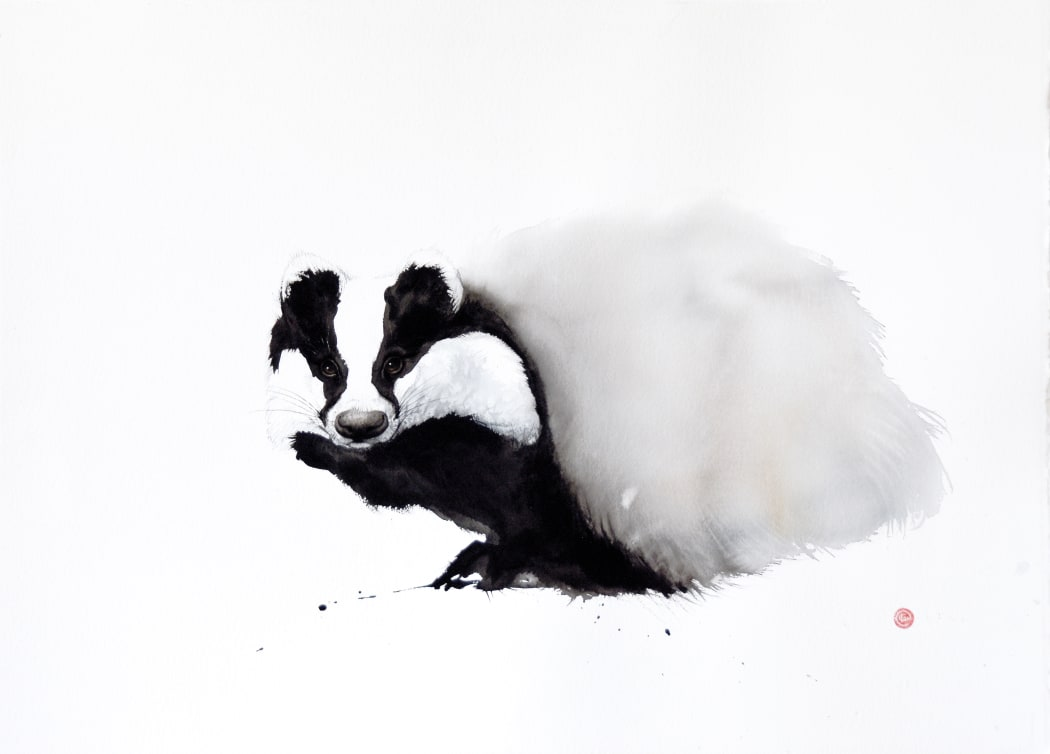 Badger, watercolour on Arches 640gsm paper, 75 x 105 cms