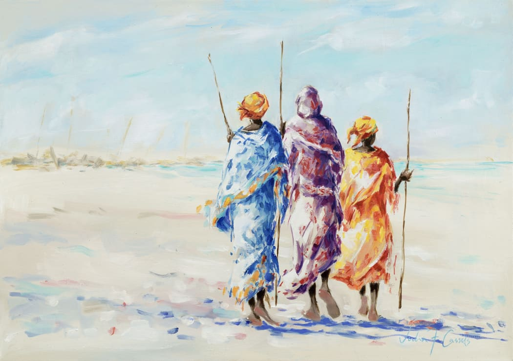 Fisherwomen of Zanzibar, oil on canvas, 42 x 60 cms
