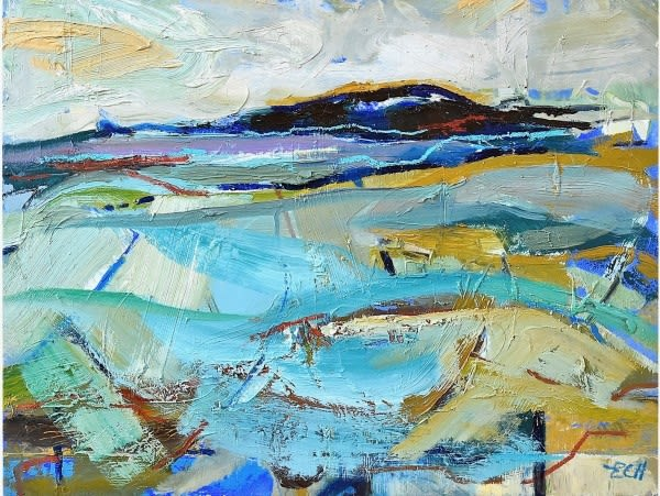 Blue Field, oil on board, 38 x 51 cms