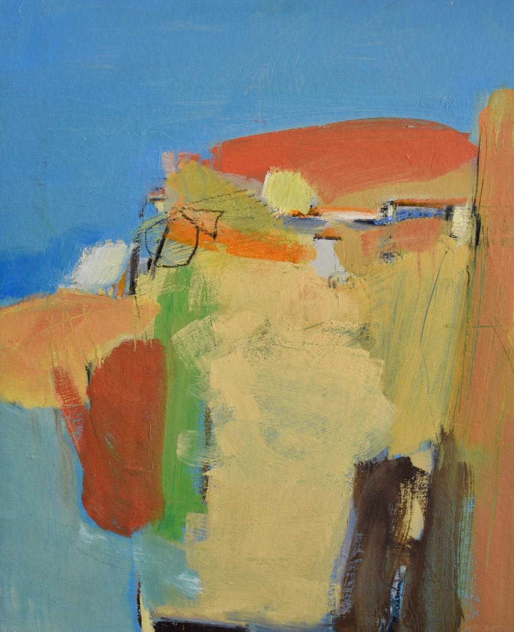 Mediterranean Landscape, Orange Hill, oil on board, 76 x 63 cms