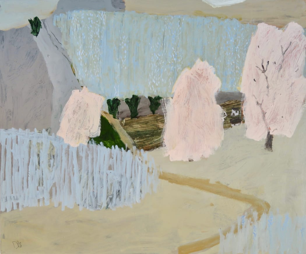 Lavender Fields (detail), mixed media on linen, 100 x 120 cms