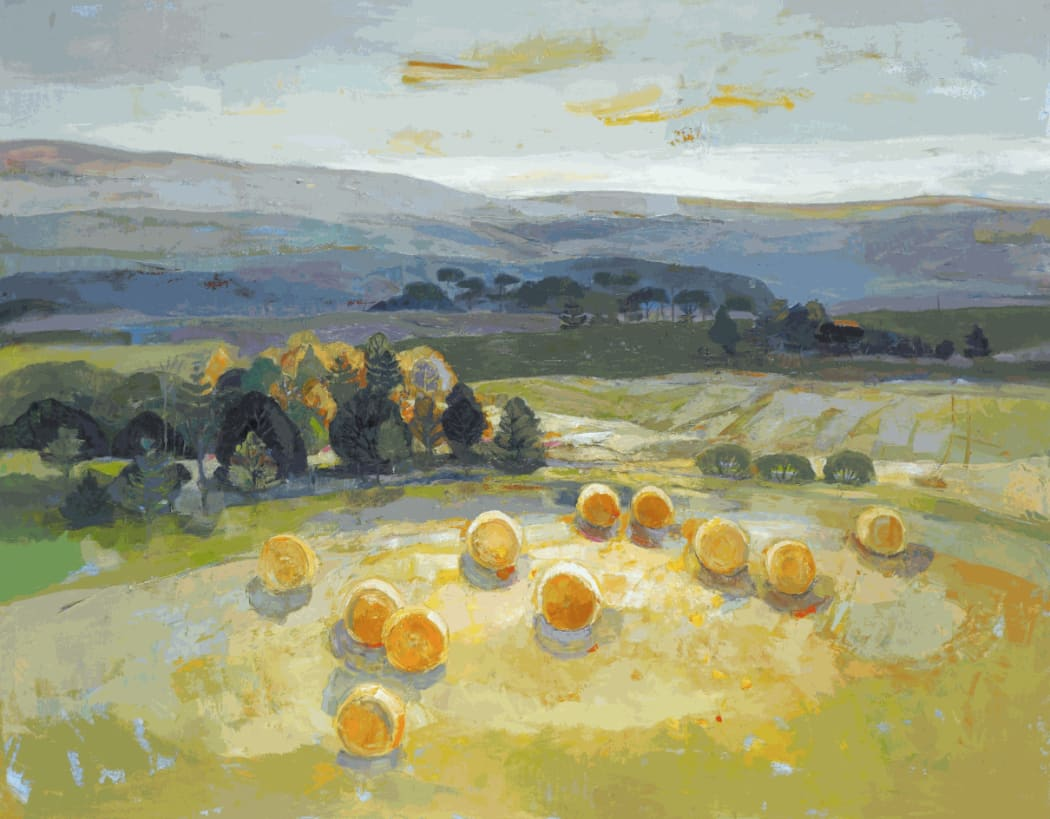 Hills and Bales , oil on canvas, 111.8 x 142.2 cms, £8,600