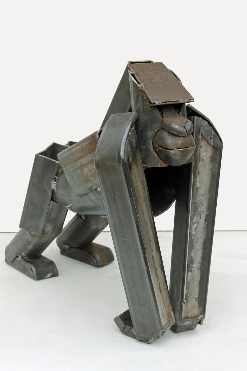 Gorilla Standing, welded metal, 43 x 44 x 22 cms