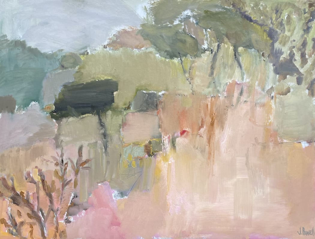 Umbrella Trees, Tuscany, oil on board, 76 x 102 cms