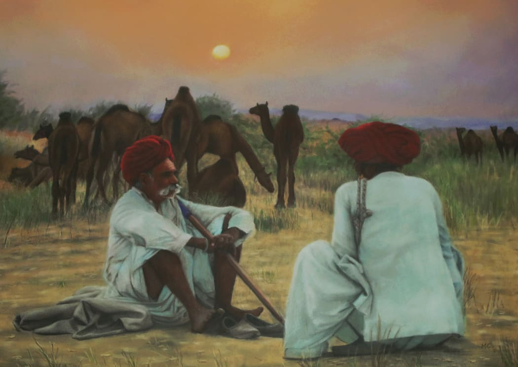 Two Rajasthani Men with Camels, pastel on paper, 46.5 x 59 cms