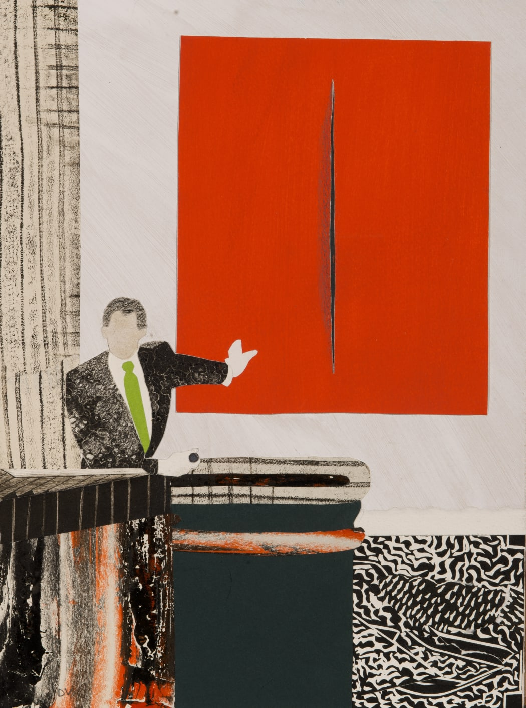 Red is Fontana's Colour, collage, 40.6 x 30.5 cms