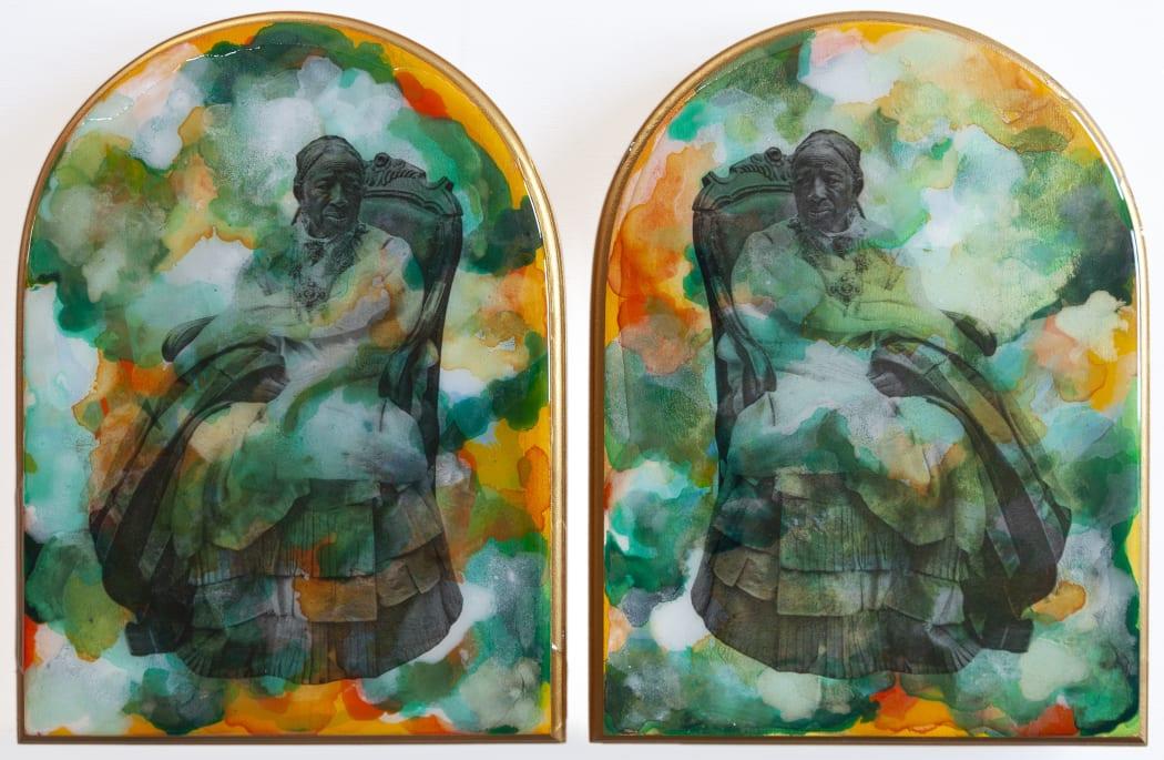 Shiraz Bayjoo, 'Nu Ban Ansyen' (diptych), 2021. Acrylic and resin on wood.