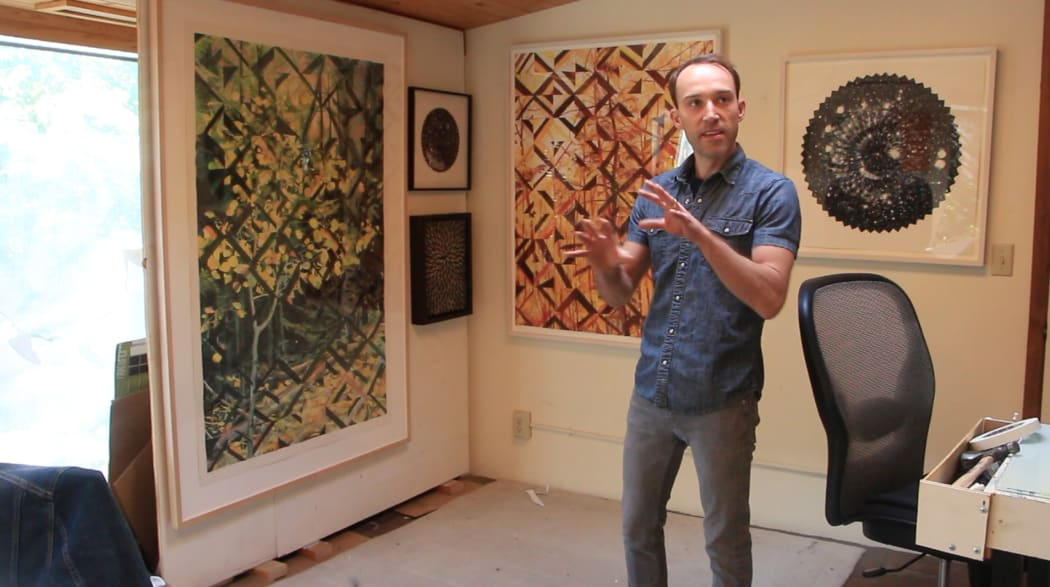 Artist Matthew Mullins in his Santa Fe, New Mexico home studio