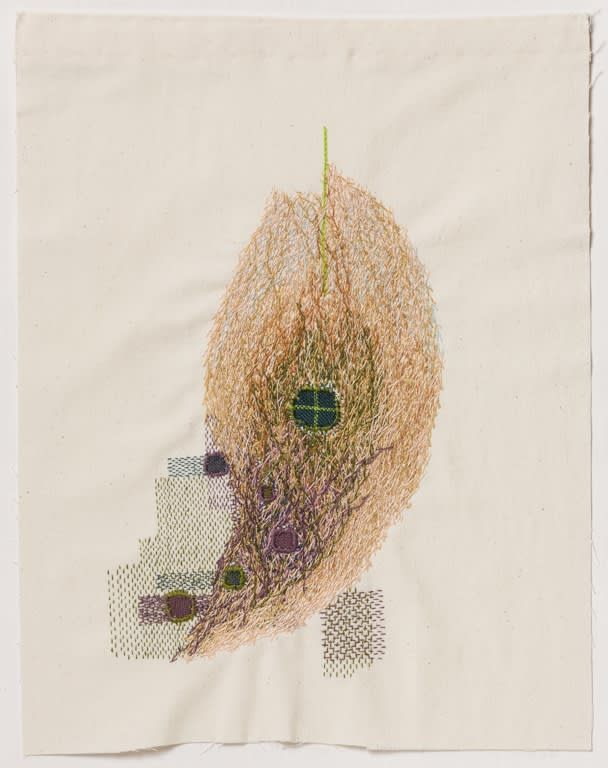 Mark Newport, Mend IV, embroidery on muslin