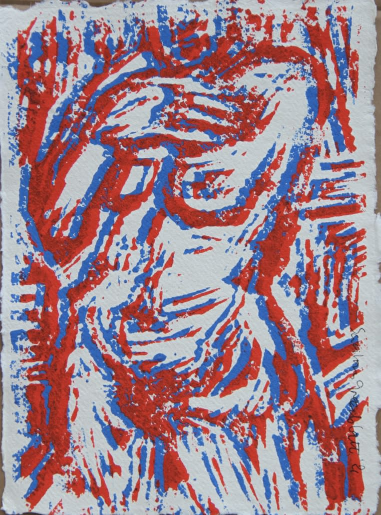 Bastille Day. 2021. Linocut on handmade paper. 29x21cm