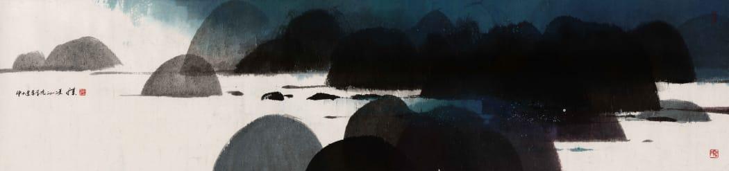 馮永基,《吐露港》,2012,水墨設色紙本,60 x 240 cm