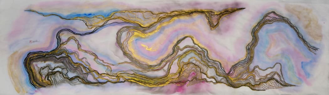 Victor Wong, The Fauvist Dreams of Gemini 01, 2020 Artificial Intelligence, Chinese ink, acrylic & gold paint on rice paper, 131 x 43 cm