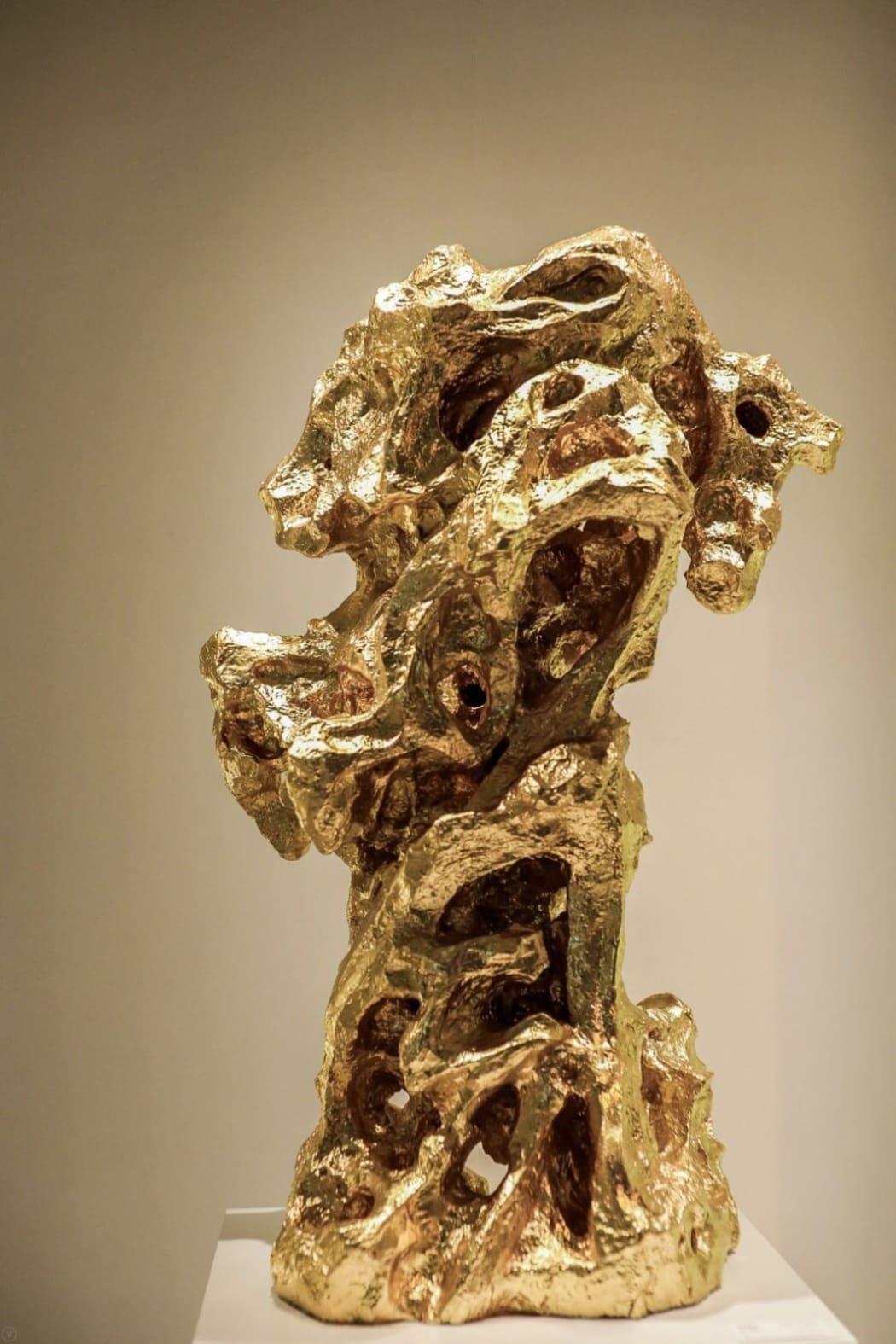 TJ Ren, East Wind, 2019, Cupronickel, bronze gilding with 24K gold, 58 x 52 x 120 cm