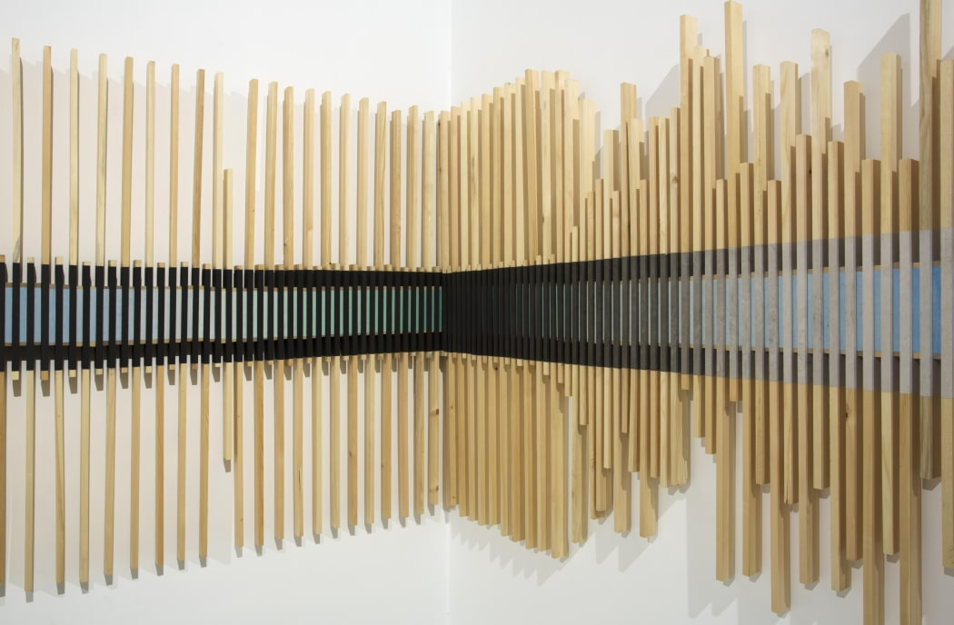 Yu Yang, Disorder and in Order, 2014, Ink on paper & wood, 130 x 500 cm