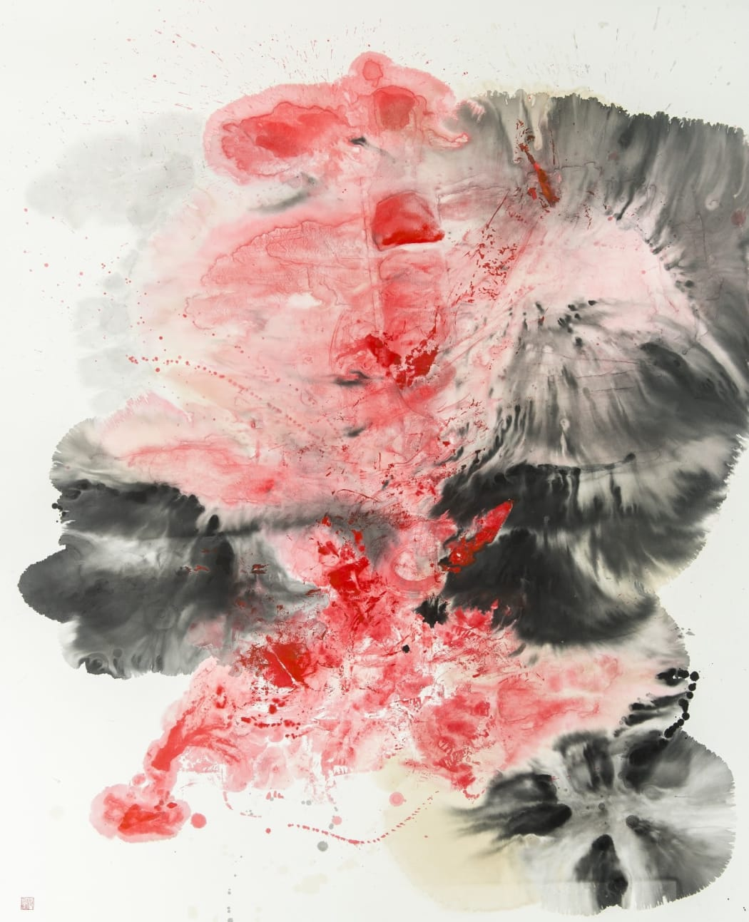 Chloe Ho, Ink Eruption, 2017 Chinese ink, coffee and acrylic on rice paper, 159 x 131 cm