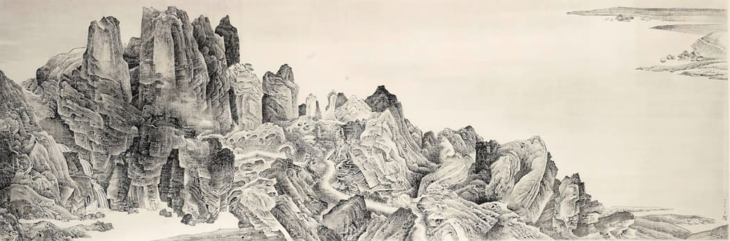 Liu Dan, Airy Mountains, Rushy Glens after Li Tang, 2004, Ink on paper (Courtesy of Sotheby's)