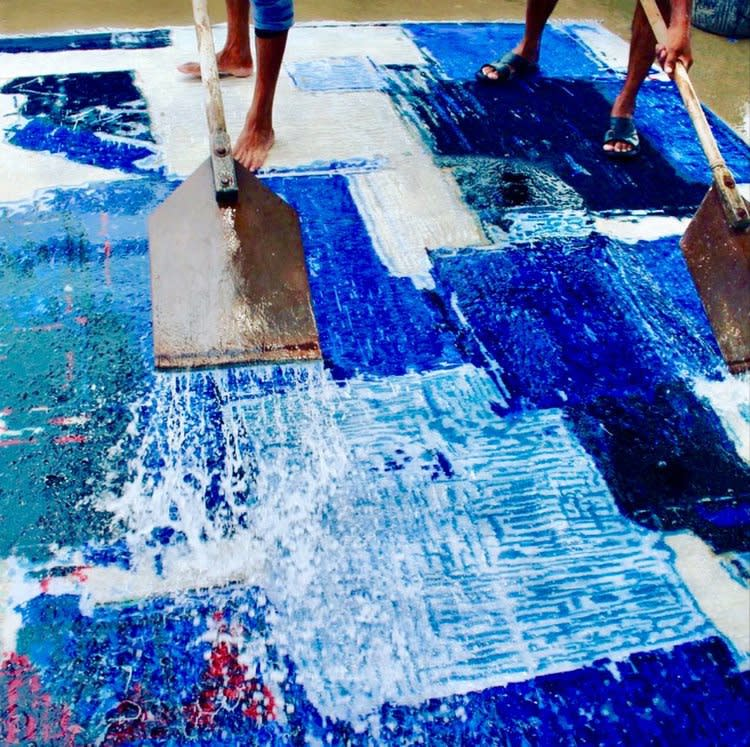 "Washing ""Blue Squares"" outside Varanasi"