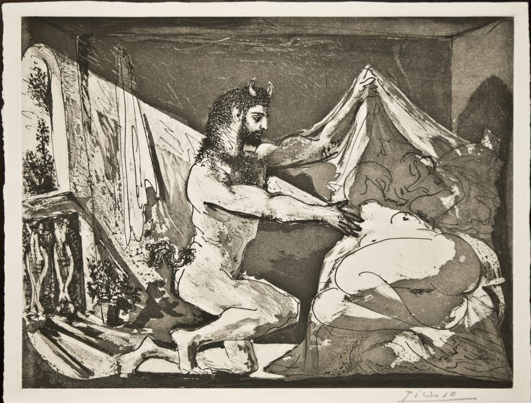 Faune dévoilant une Dormeuse (Jupiter et Antiope, d'après Rembrandt) (S.V. 27) (B230), 1936, Sugarlift aquatint and burin with scraper, 13 1/4 x 17 1/2 inches