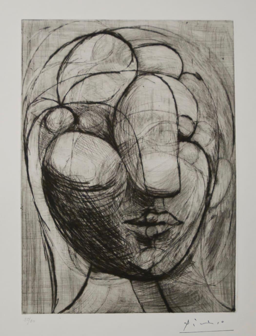 Sculpture, Tête de Marie-Thérèse B250, 1933, drypoint, 18 3/8 x 14 1/2 inches