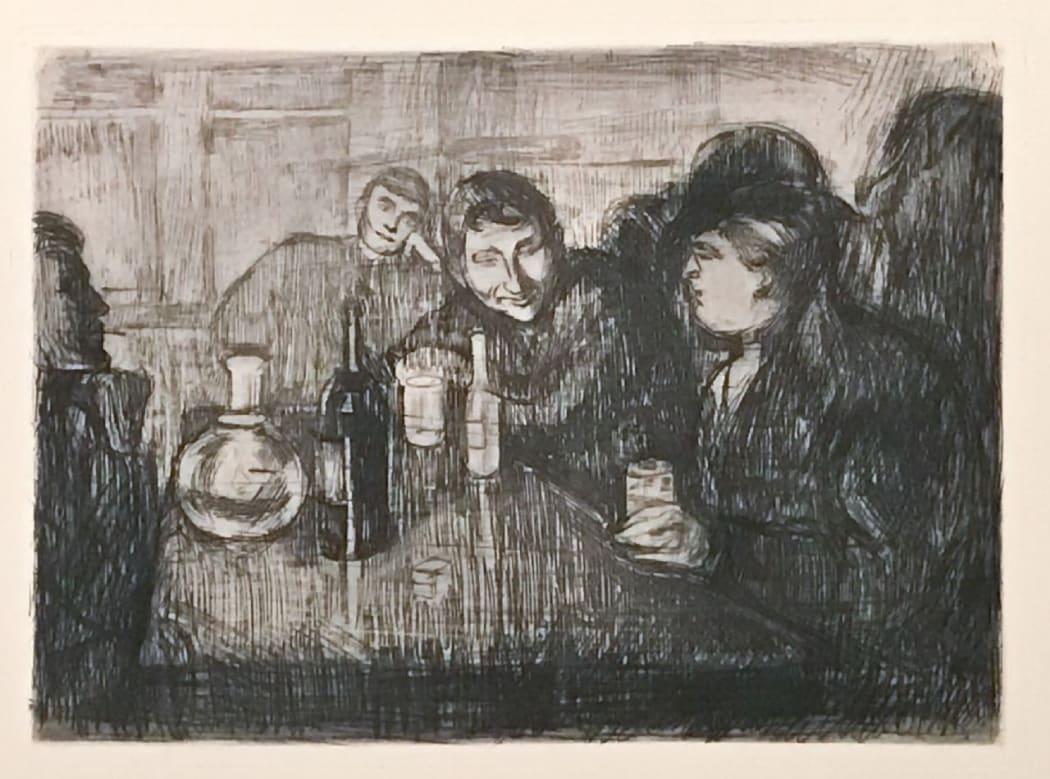 Edvard Munch: Kristiania Bohème I W015, 1895, etching, 13 1/2 x 18 7/8 inches.