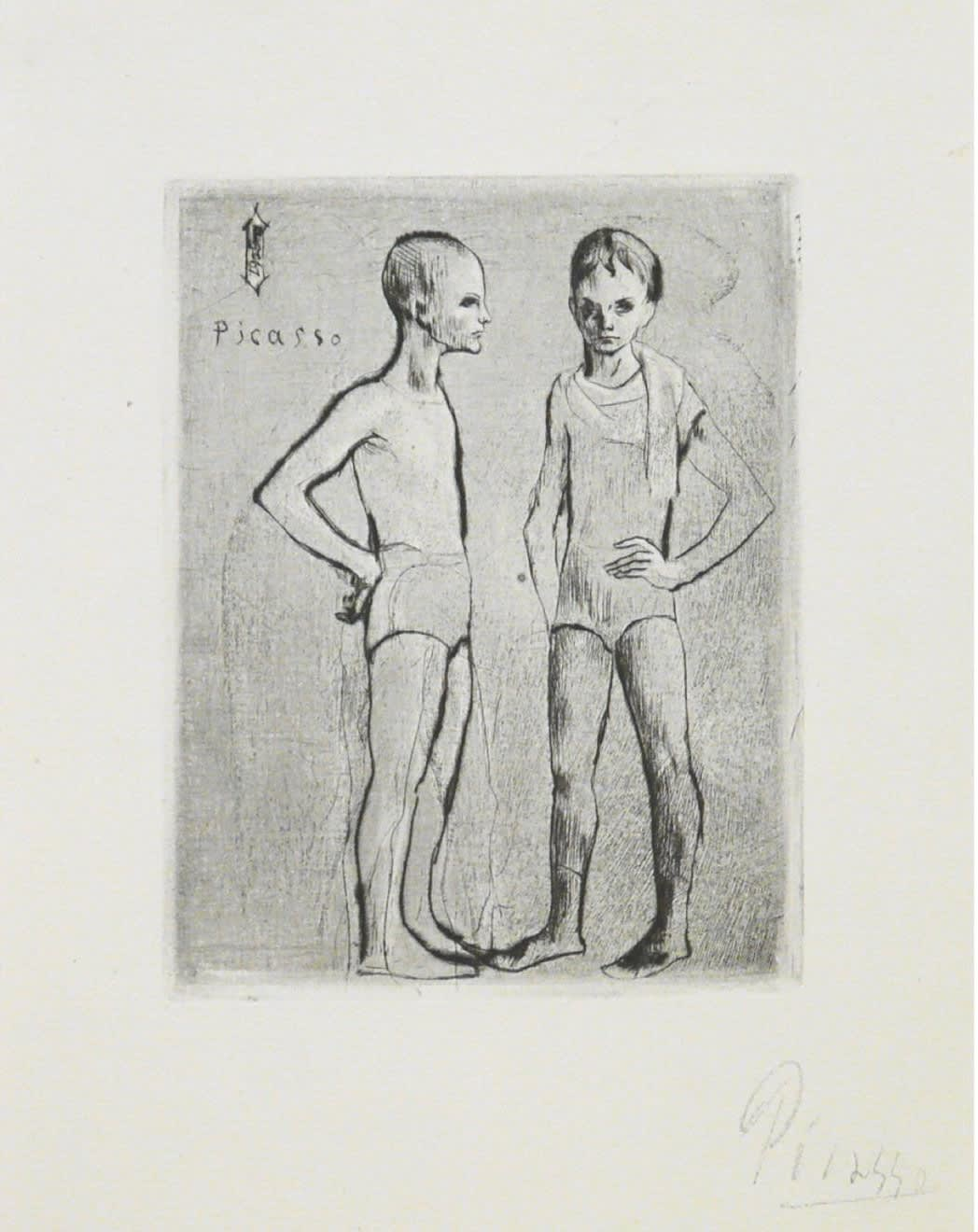 Pablo Picasso: Les Deux Saltimbanques (Bloch 5), 1905, drypoint, 8 3/8 x 5 1/2 inches
