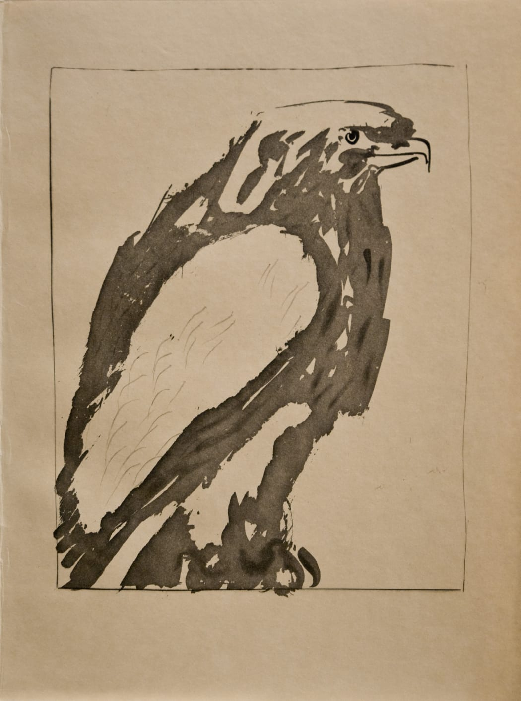 L'Aigle Blanc (The Eagle) (Bloch 340), 1936, sugarlift aquatint, drypoint, and scraper, 14 3/8 x 11 inches