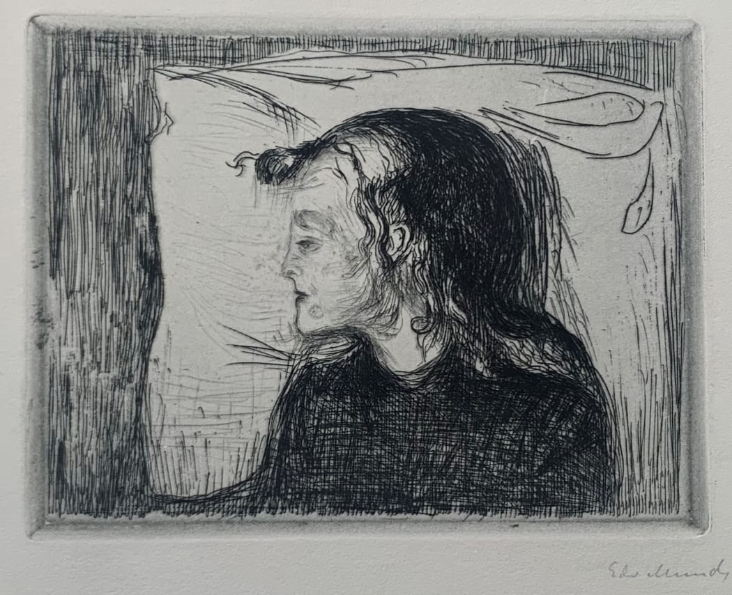 Det syke bar (The sick child) (Woll 59), 1896, etching, 5 7/16 x 7 3/16 inches
