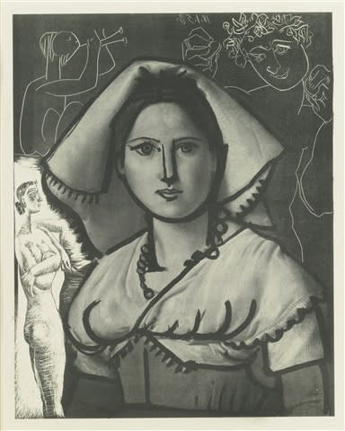 L'Italienne (d'aprés le tableau de Victor Orsel) (Bloch 740.1), 1953, Lithograph and engraving, 17 1/2 x 15 inches