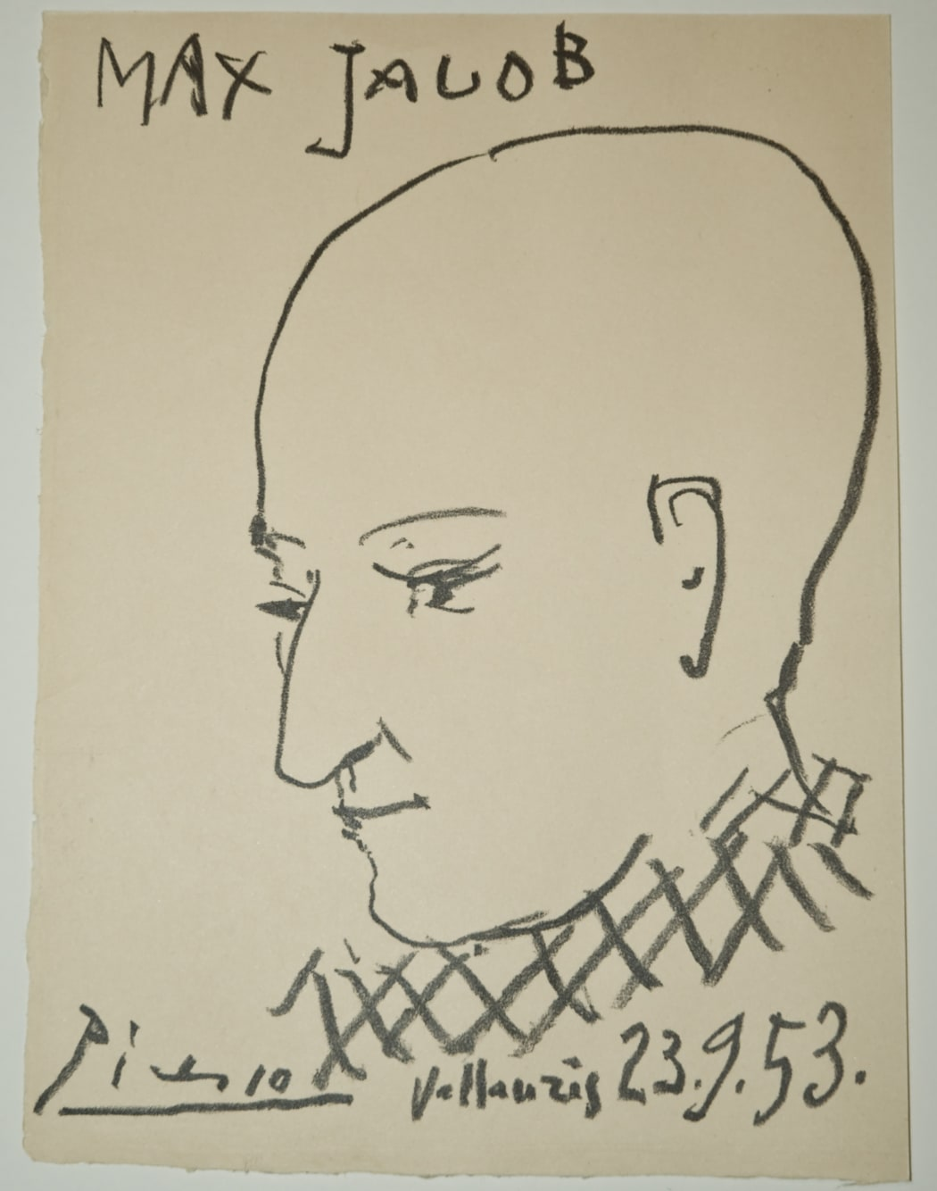 Portrait de Max Jacob, 1953, transfer lithograph, 9 1/2 x 7 1/8 inches