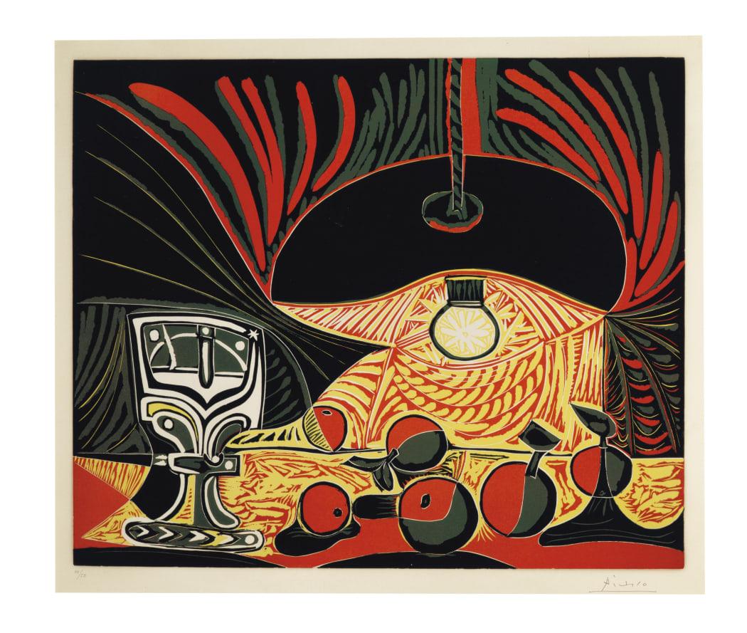 Nature Morte au Verre sous La Lampe (Bloch 1101), 1962, linocut, 24 7/16 x 29 9/16 inches