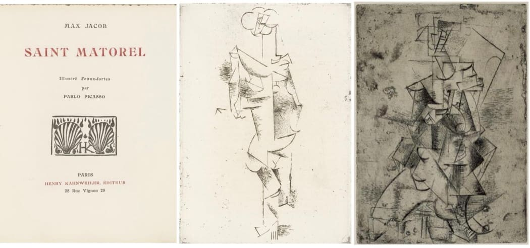 Left: Max Jacob: Saint Matorel illustrated with etchings by Picasso, 1910, published 1911; Middle: Pablo Picasso: Mademoiselle Léonie, 1910, etching, 7 15/16 x 5 9/16 inches; Right: Pablo Picasso: Mademoiselle Léonie Sur Une Chaise Longue, 1910-1911, etching and drypoint, 7 13/16 x 5 9/16 inches ©MoMA