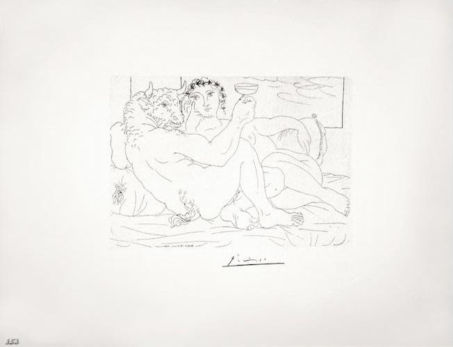 Le Repos du Minotaure : Champagne et Amante (S.V. 83), 1933, etching, 15 1/4 x 19 3/4 inches