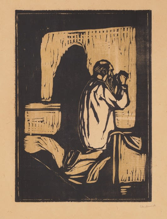 Old Man Praying (Woll 205), 1895, woodcut, 18 3/16 x 13 inches