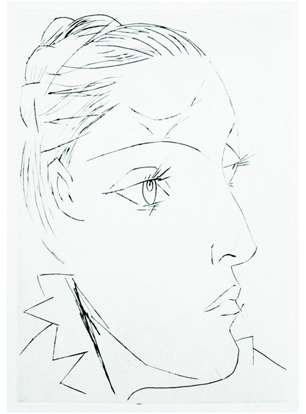 Portrait de Dora Maar au Chignon. II (Bloch 292), 1936, drypoint, 20 1/4 x 15 3/4 inches