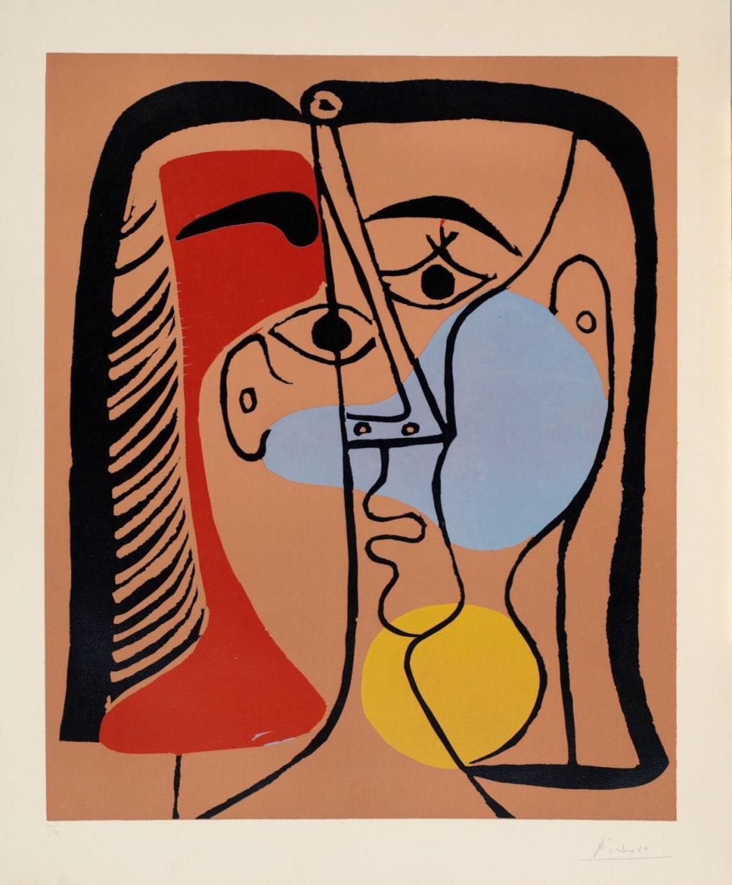 Portrait de Jacqueline aux cheveux lisses (Bloch 1066), 1962, linocut, 29 5/8 x 24 7/16 inches