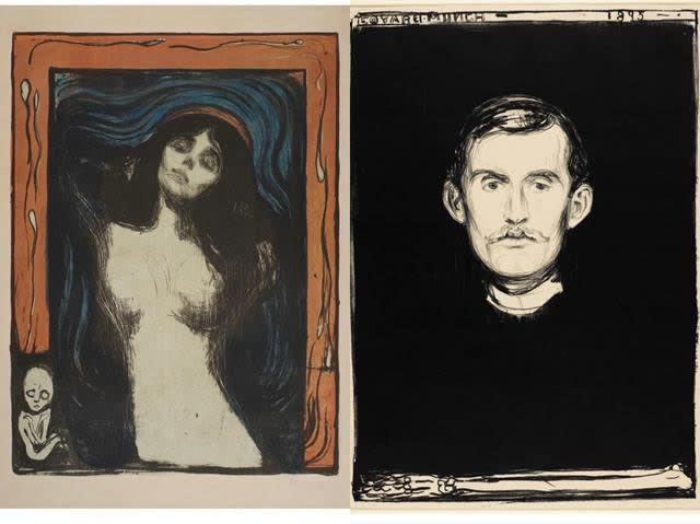 Left: Edvard Munch: Madonna, 1895-1902, lithograph, 23 5/8 x 17 3/8 inches Right: Edvard Munch: Self-Portrait with Skeleton Arm, 1895, lithograph, 22 15/16 x 16 15/16 inches