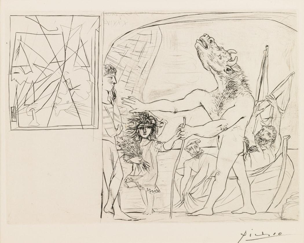 B0223 Minotaure aveugle guidé dans la Nuit par une Petite Fille au Pigeon (S.V. 96)) (B223), 1934, etching, 15 1/4 x 19 3/4 inches